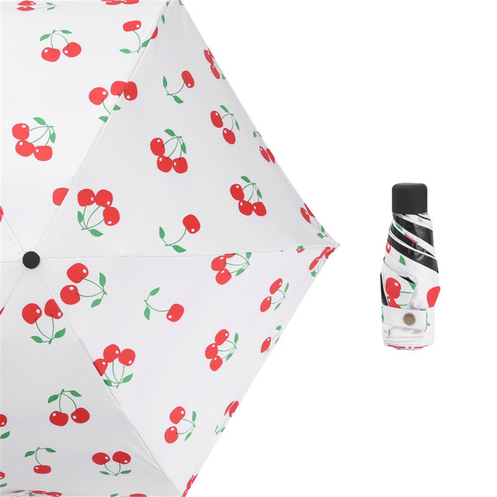 Guoke The Weather Was Fine Rain Umbrellas Use A Sunscreen Ultra Small Ultra Light Mini Light Folding Portable, Cherry - White