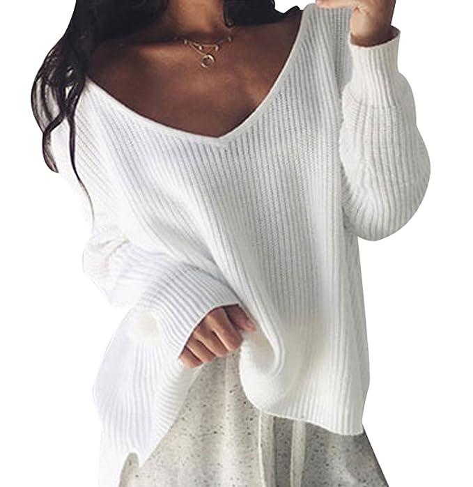 Suéter Jersey Jerseys de Punto Mujer Sueter Cuello V de Dama ...