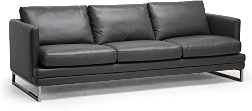 Baxton Studio Dakota Leather Modern Sofa, Pewter Gray
