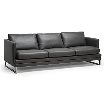 Amazon.com: Baxton Studio Dakota Leather Modern Sofa, Pewter Gray ...