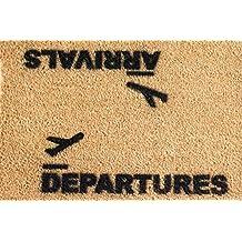 CKB Ltd Arrivals And Departures Airport Novelty Doormat Unique Doormats Front/Back Door Mats Made With A Non-Slip Pvc Backing - Natural Coir - Indoor & Outdoor