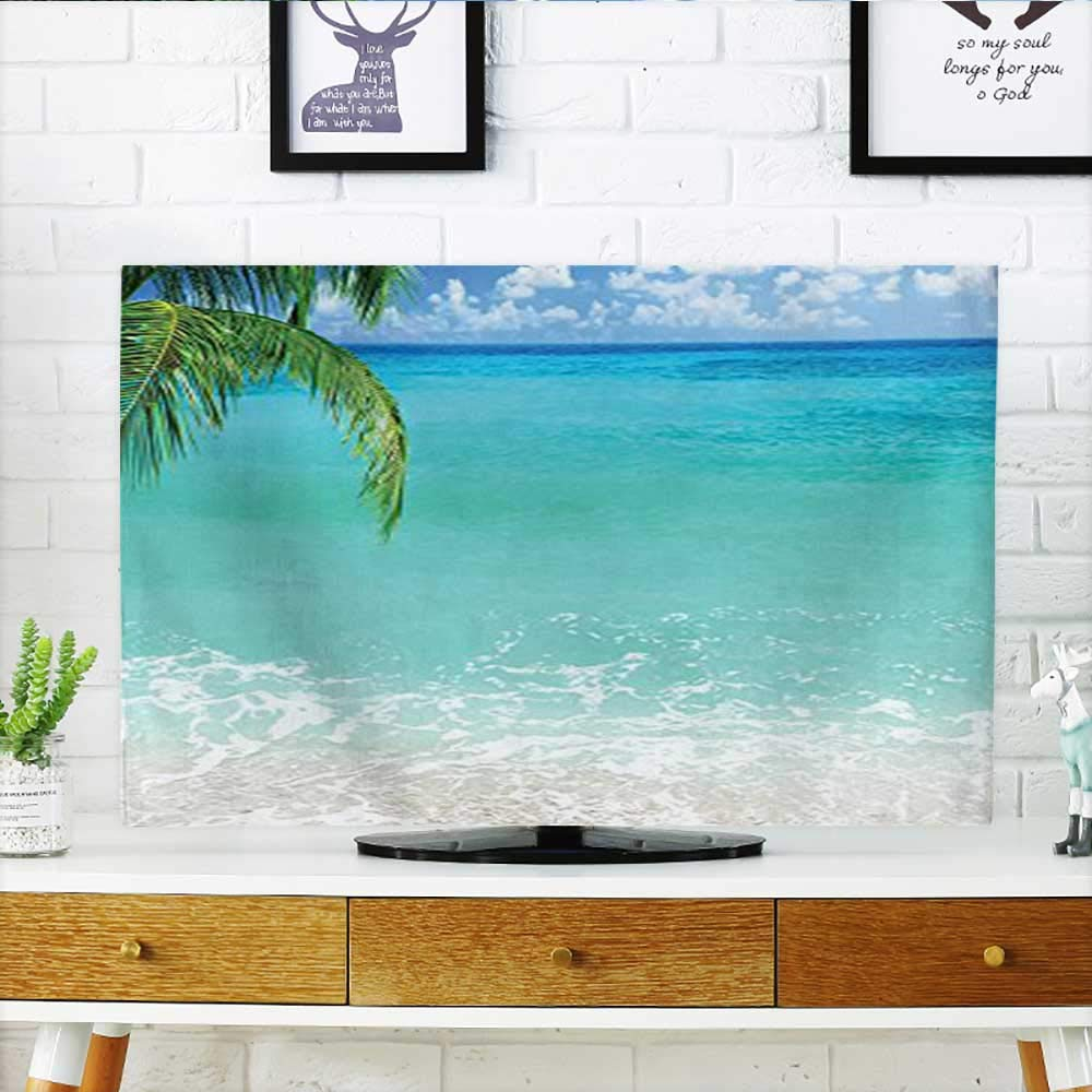 """Leighhome Cord Cover for Wall Mounted tv Lebanon Panoramic Sea View and Clear Sky Aqua Blue Green Ivory Cover Mounted tv W32 x H51 INCH/TV 55"""""""