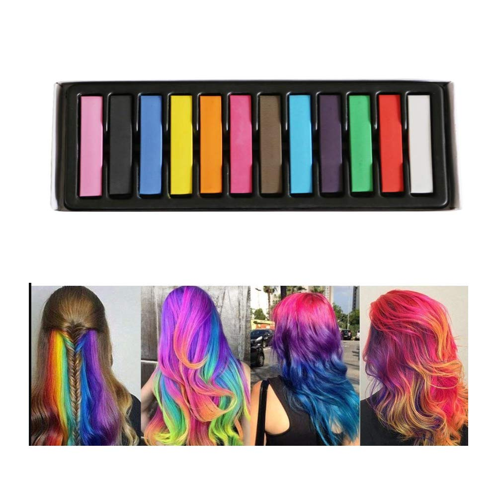 Hair Chalk for Kids, 12 Color Hair Chalk Pens,Temporary Bright Hair Chalk Set,Washable Hair Color Comb for Hair Dye-Safe Perfect Gifts for Girls,Kids Party,Cosplay,Christmas.