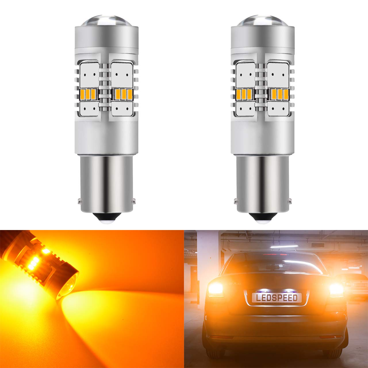 KaTur 1800LM White 3157 3047 3057 3457 3155 3156 3456 LED Replacement Bulb 14SMD CREE 3020 RV Camper SUV MPV Car Turn Tail Signal Bulbs Brake Light Lamp Backup with Canbus Decoder Error Free 50W 8ohm