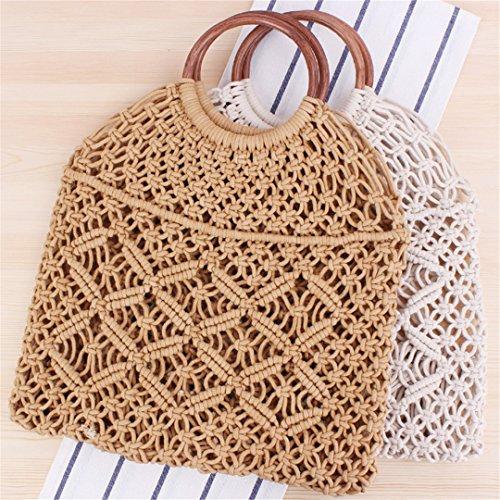 Hollow Handle BOBOMIMI Black Rattan Bag Wooden Chic Net Straw Macrame Ring Retro Cotton Tote Handbag Bag Vintage Rope Sheer RRn1pHx