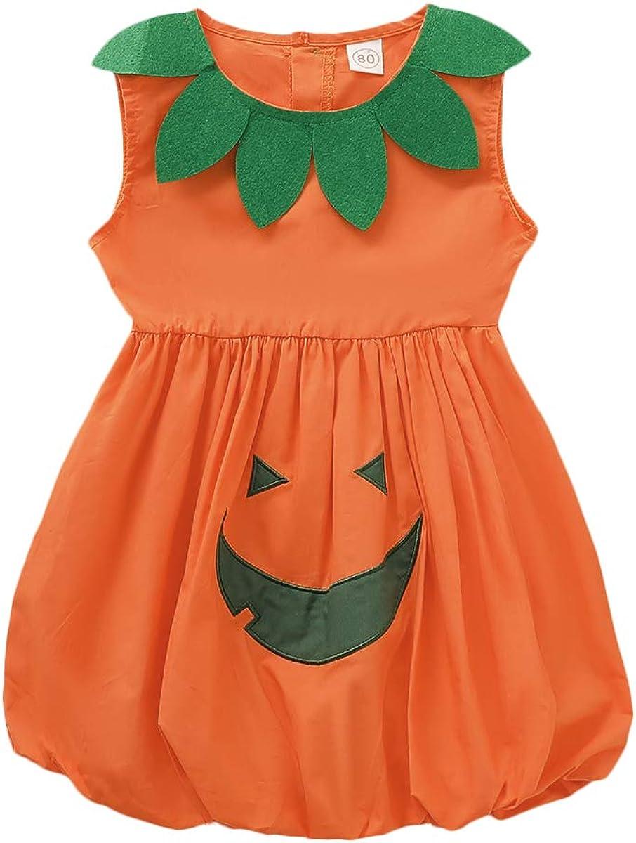 Halloween Baby Outfits,Fineser Lovely Toddler Baby Boy Girl Long Sleeve Pumpkin Print Romper Jumpsuit+Hat Halloween 2Pcs Sets