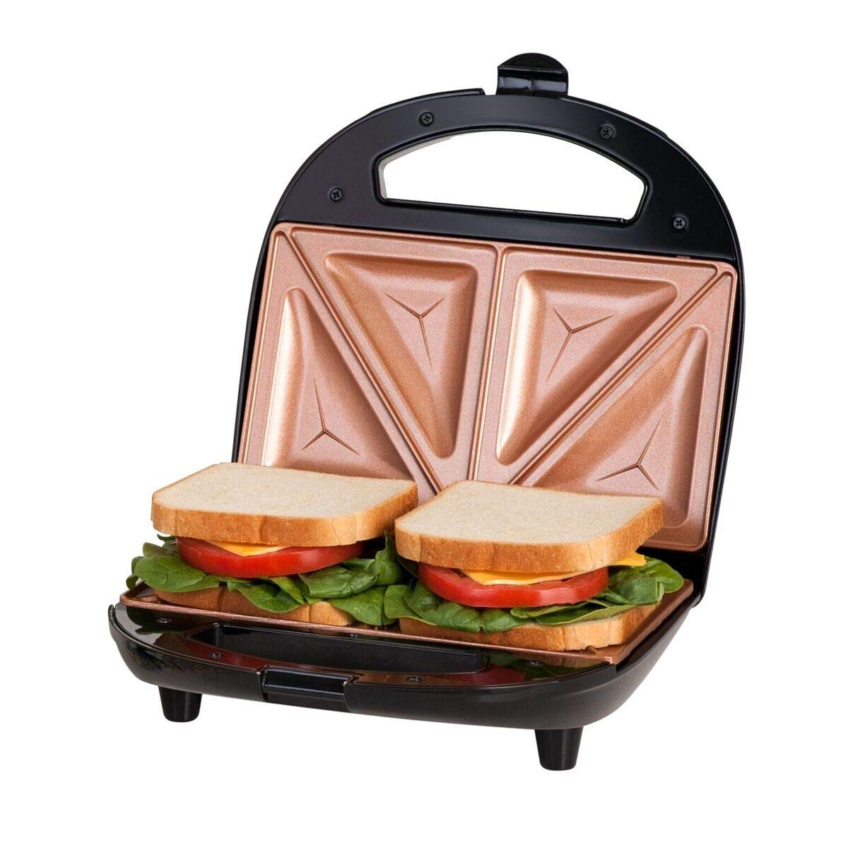 Gotham Steel Sandwich Maker, Toaster and Electric Panini Grill with Ultra Nonstick Copper Surface – Makes 2 Sandwiches in Minutes with Virtually No Clean Up, with Easy Cut Edges and Indicator Lights