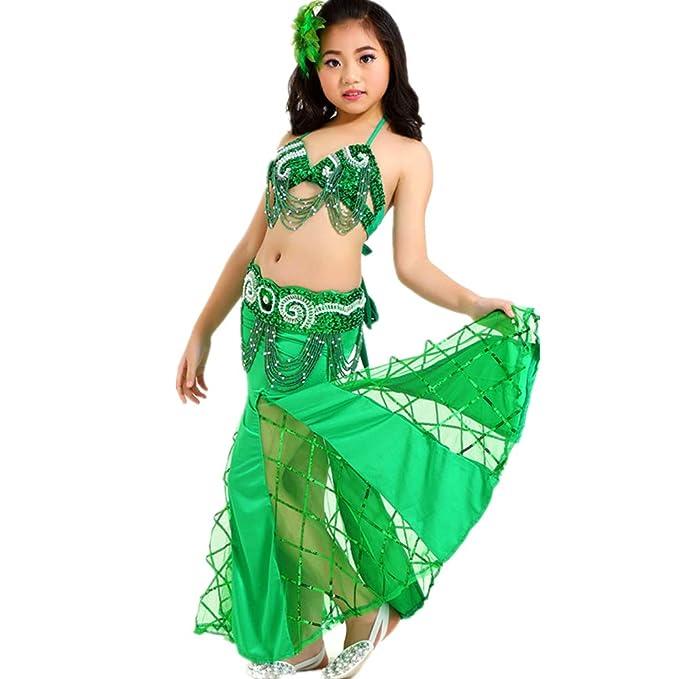 Amazon com: Girls Exotic Beaded Belly Dance Costume Halter
