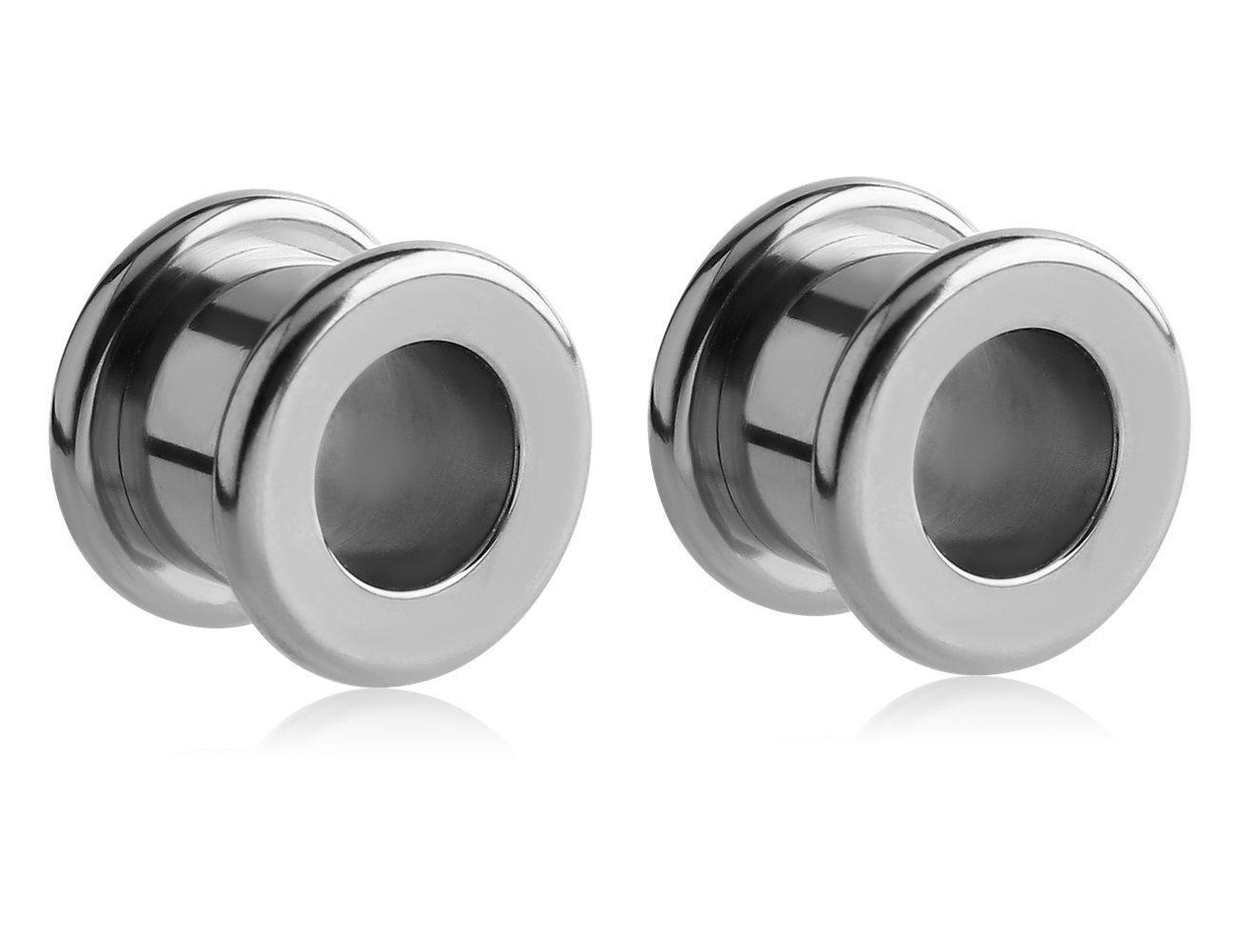 Holy Plug Body Piercing Jewelry Pair of 2 Titanium Round Edge Tunnel 0000g 11g 6g 4g 2g 1g 0g 00g by Holy Plug