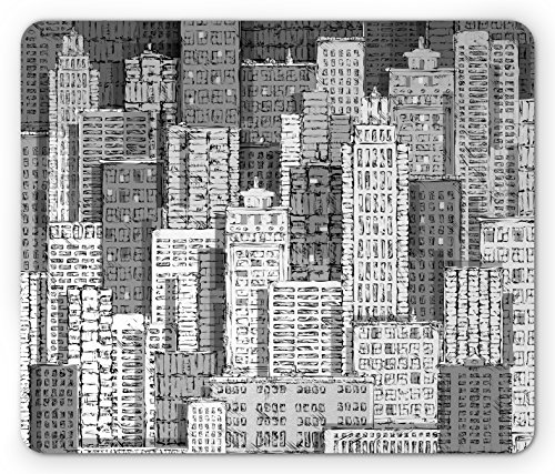 - Lunarable New York Mouse Pad, High Buildings of Metropolitan Life Skyscrapers and Twin Towers, Standard Size Rectangle Non-Slip Rubber Mousepad, Charcoal Grey White and Grey