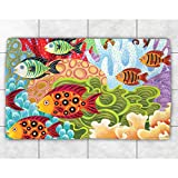 Laural Home Colorful Fish Accent Rug (4' x 6')