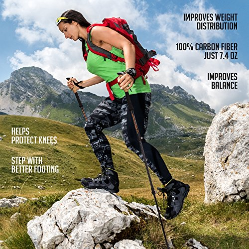 ASX 100% Carbon Fiber Anti shock Trekking Poles w/ Cork Grips Collapsible Hiking / Walking Sticks