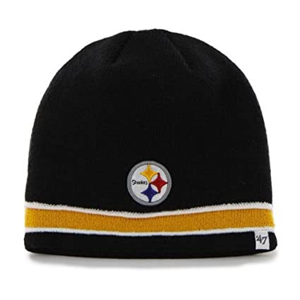 new concept 03fc6 52d3c Amazon.com   Nfl Pittsburgh Steelers Hat Super Pipe Knit Beanie 47 Brand, One  Size Fits All, Black   Sports   Outdoors