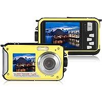 Fotocamera Digitale,Fotocamera subacquea impermeabile Full HD 1080P Videoregistratore da 24 MP Selfie Doppia registrazione Videocamera DV giallo
