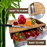 Quality Bamboo chopping/Cutting Board with large opening and 4 plastic drawers