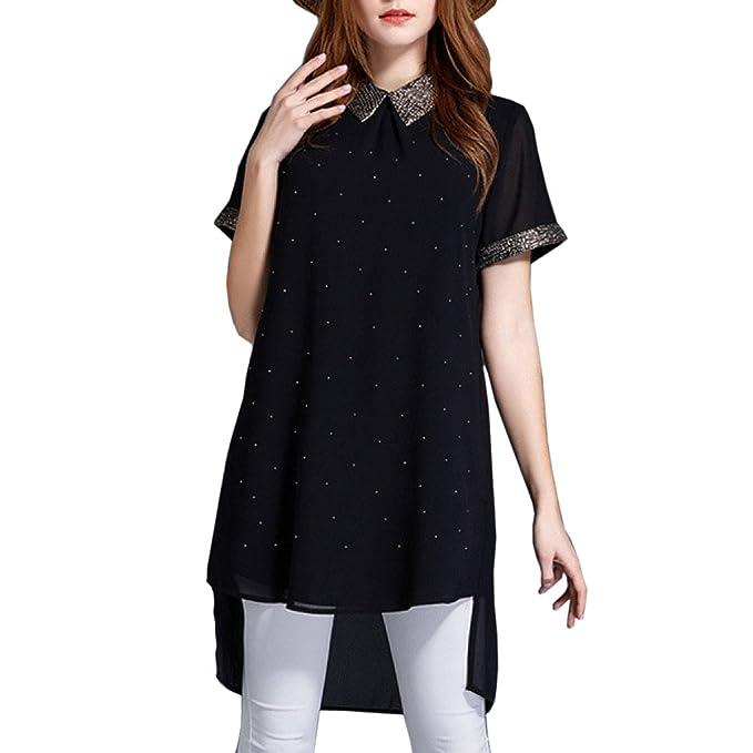 Moda Plus Size Solapa Cuello Gasa Camiseta Para Mujer Dama Manga Corta Verano Alto-bajo