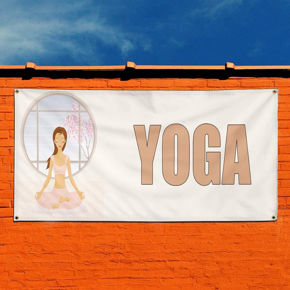 6 Grommets Multiple Sizes Available 32inx80in Set of 2 Vinyl Banner Sign Yoga White Business Yoga Sport Outdoor Marketing Advertising White