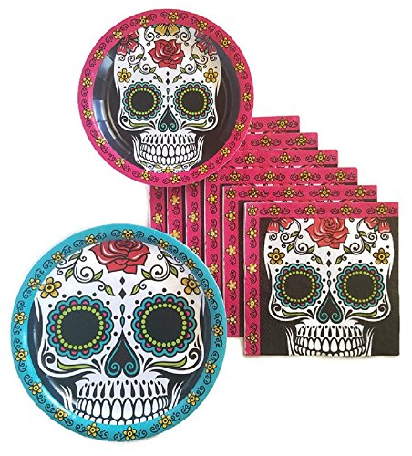 Day of the Dead Dia De Los Muertos Sugar Skull Party Supplies Paper Plate and Napkin Bundle of 3 - Service for 16 -