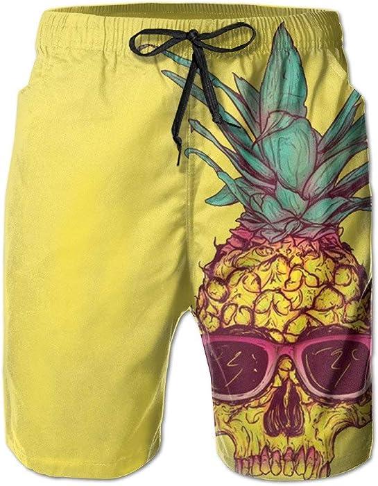 b02f7c120b Amazon.com: ZQKCMY Pineapples Men's Quick Dry Beach Board Shorts ...
