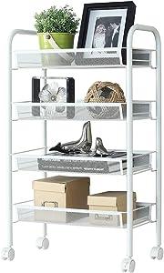 Rackaphile 5-Tier Metal Mesh Rolling Cart Trolly Organizer Shelves Handle Portable Utility, Easy Moving