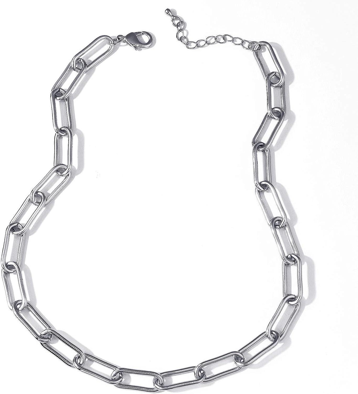 Set di Collana e Bracciale Placcato Oro 18k Argento Rettangolo Ovale Spesso Catena Collane Girocollo Set di Braccialetti Delicata Set di gioielli per le donne
