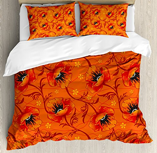 Poppies Quilt Fabric (Ambesonne Burnt Orange Duvet Cover Set King Size, Poppy Flower Series Blossom Blooming Florals Romance Boho Art Decor, Decorative 3 Piece Bedding Set with 2 Pillow Shams, Burnt Orange Yellow Black)