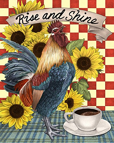 Rooster, Sunflowers, Kitchen Print, Drawing by Wendy Hogue Berry