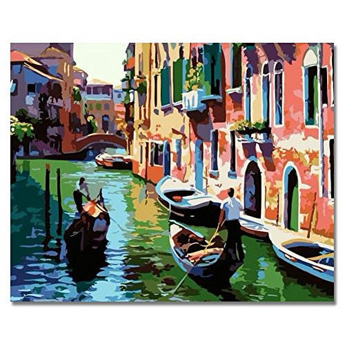 (LIUDAO Paint By Number Kits for Adults, Oil Painting on Canvas- Twilight Venice 16x20 Inch Without Frame)