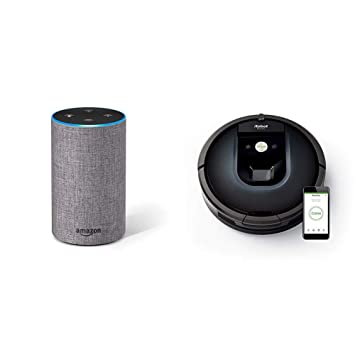Echo gris oscuro + iRobot Roomba 981 - Robot aspirador para alfombras, potencia de succión