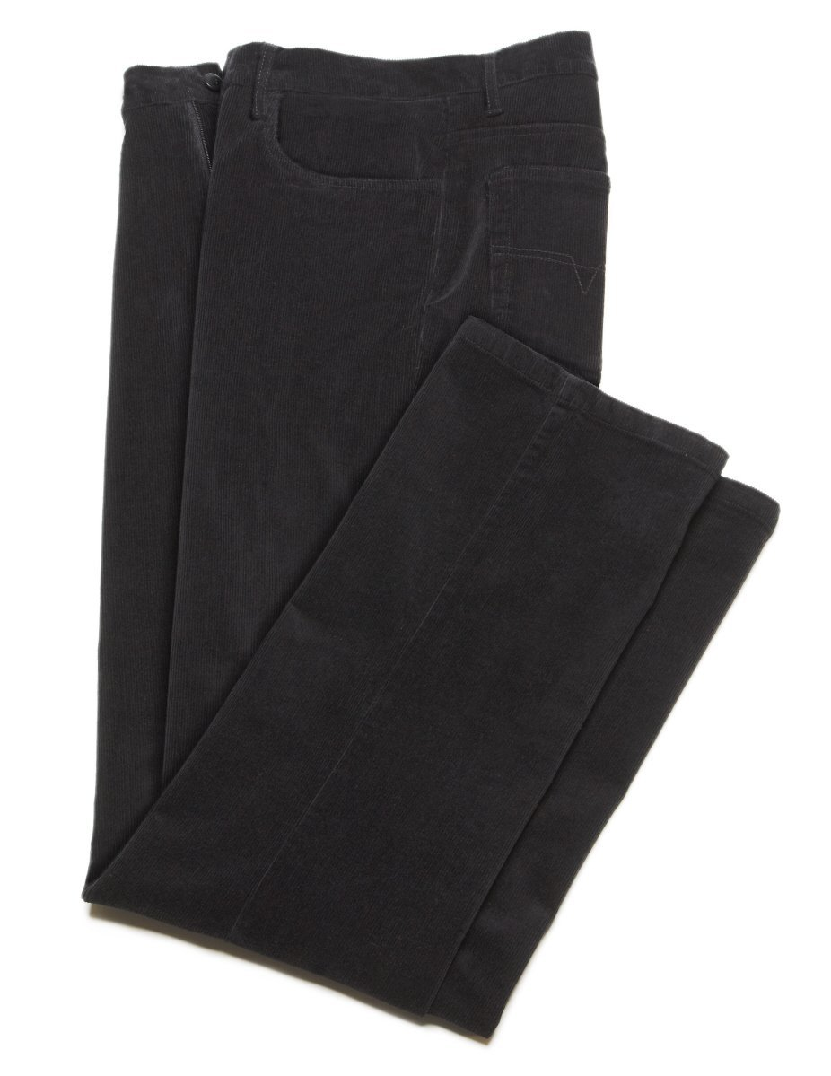 Illegal, STRETCH Fine Wale Corduroy Casual Pants, Flat Front - For Men Black 36