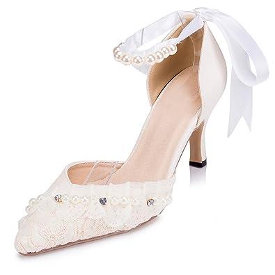 f08f3f4b5ef4 Kevin Fashion ZMS1515 Women s Ribbon White Glitter Bridal Wedding Party  Evening Prom Pumps Shoes 5 M