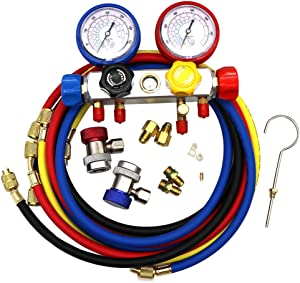 "KIPA AC Manifold Gauge Set R12 R22 R134A R410A 4 Ways HVAC Diagnostic Tool Kit Refrigeration Service Components Inlcuding Refrigerant Charging Pressure Hoses 1/4"" SAE Fittings"