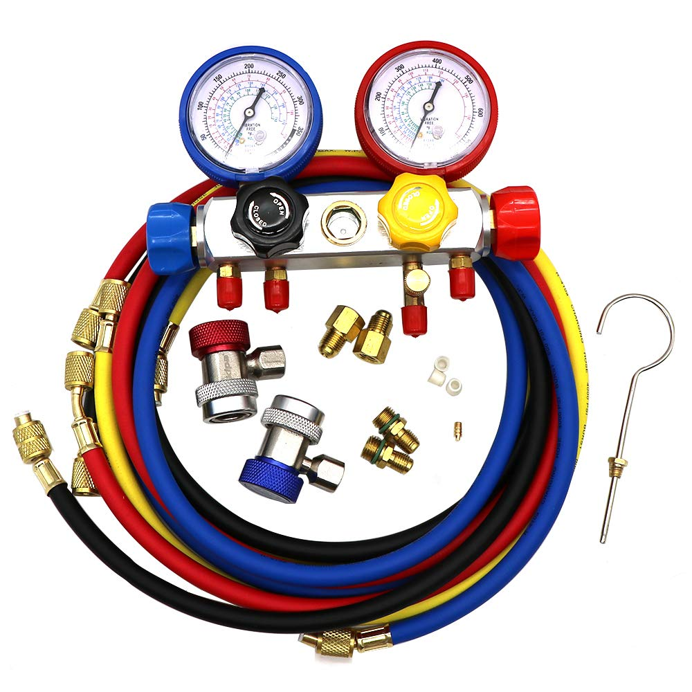 KIPA AC Manifold Gauge Set R12 R22 R134A R410A 4 Ways HVAC Diagnostic Tool Kit Refrigeration Service Components Inlcuding Refrigerant Charging Pressure Hoses 1/4' SAE Fittings