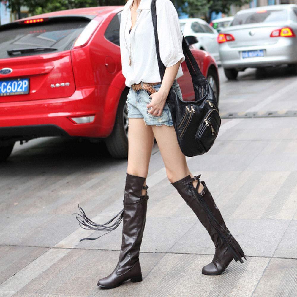 Botas De Mujer, Zapatos De De De Mujer De Gran Tamaño Correa De Tela De PU Borlas Botas Altas Forro De Felpa Botas De Mujer Gruesas Y Gruesas, Zapatos Casuales Cómodos,Blanco,35 88cd34