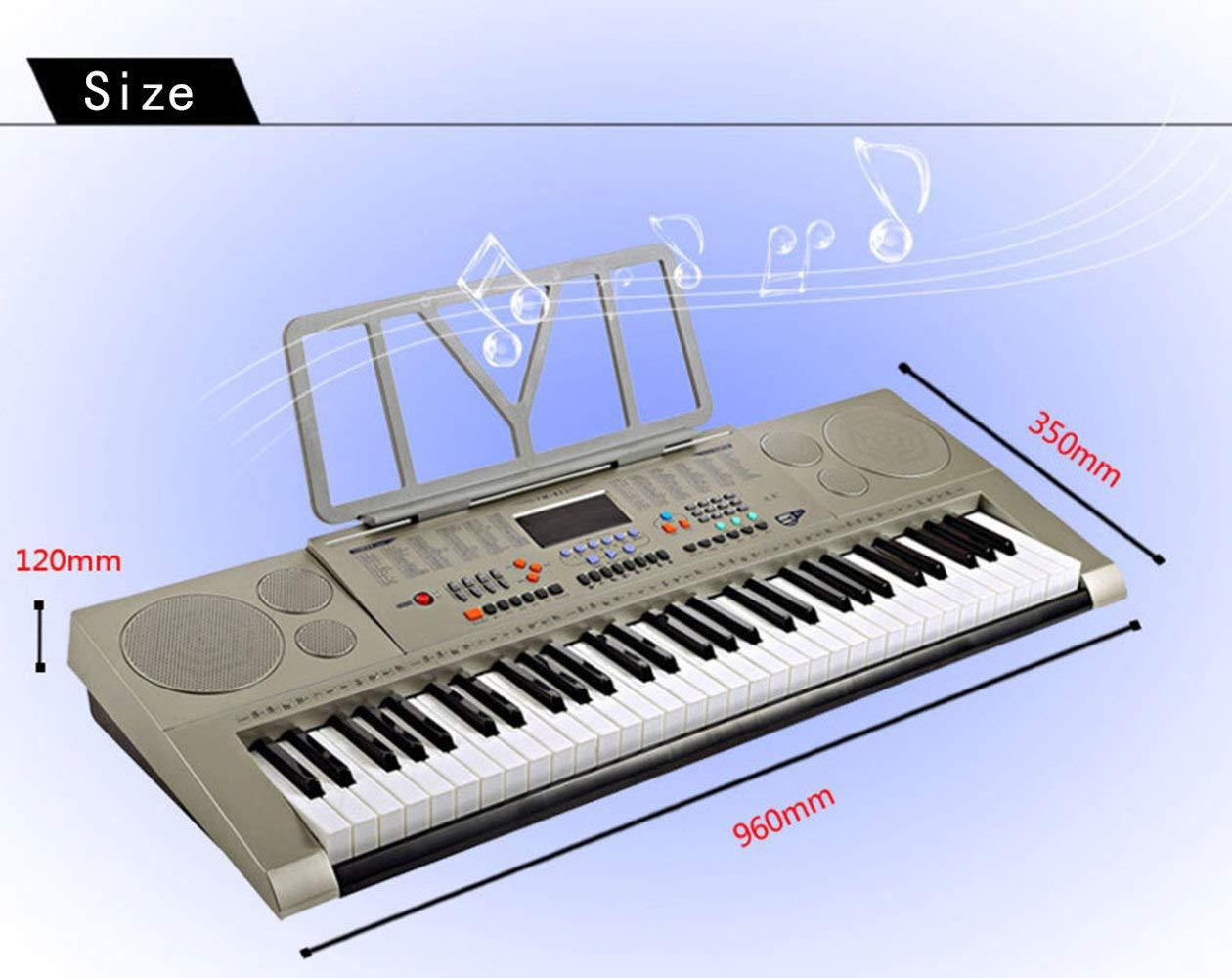 KYOKIM Teclado Electrónico Digital De 61 Teclas, Enseñanza Musical Interpretación Profesional, Universal para Adultos Y Niños,Grey: Amazon.es: Hogar