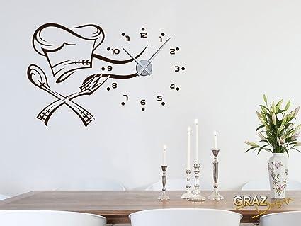 Vinilo de pared: Decoración de pared con reloj cocinero Para la cocina (reloj=