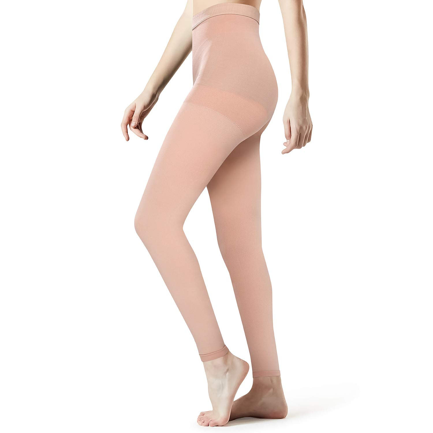SKYFOXE Medical Grade Compression Pantyhose Women Men- Opaque Footless Compression Stockings Pantyhose Support Patyhose Firm Graduated Support 20-30mmHg Helps Relieve Symptoms of Mild Varicose Veins