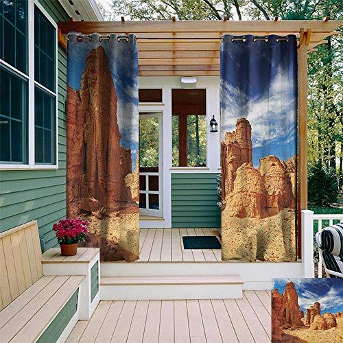leinuoyi Desert, Outdoor Curtain Extra Wide, Bizarre Sandstone Cliffs in Sahara Desert Tassili NAjjer Algeria, Balcony Curtains W120 x L96 Inch Navy Blue Mustard Orange (Sahara Cotton Curtain)