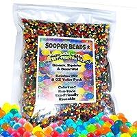 Sooper Beads Water Beads Rainbow Mix, 8 oz (20,000 perlas) para el relleno del spa calmante, juguetes sensoriales y decoración