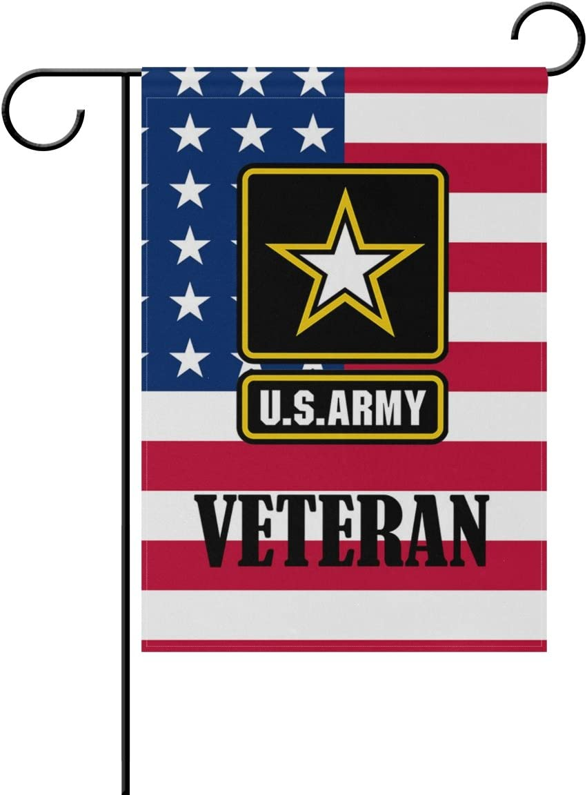 "Donnapink US Army Veteran American Military American US Flag United States Army Weatherproof Polyester Garden Flag 12"" x 18"" Seasonal Home Banner"