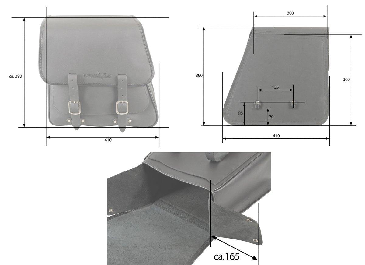 BUFFALO BAG SatteltascheBoston 28 Liter passend f/ür die linke Seite ohne Halterung