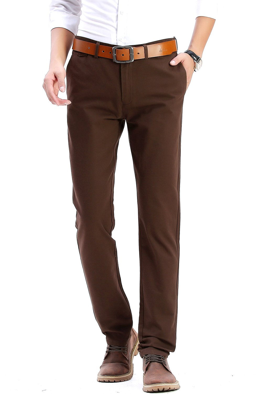 INFLATION Men's Stretchy Slim Fit Casual Pants,100% Cotton Flat Front Trousers Dress Pants for Men,Brown Pants Size 33