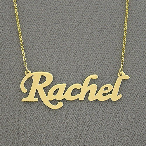 Name Script 10k Necklace (Solid 10k Yellow Gold Name Necklace Script Font Personalized Laser Cut Fine Jewelry)