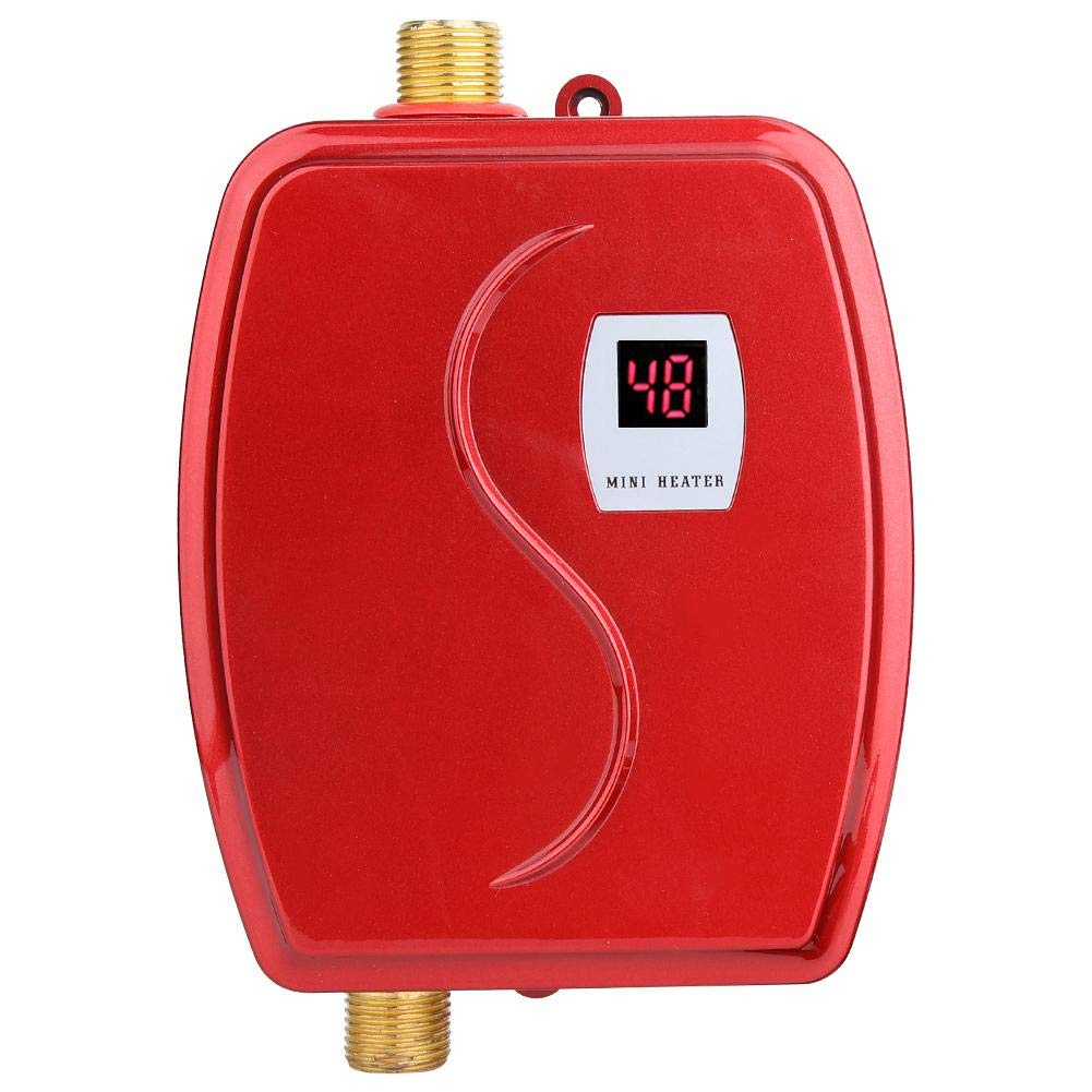 Haofy 110V 3000W Electric Instant Water Heating System with Leakage Protection for Bathroom Kitchen Tankless Hot Water Heater Red