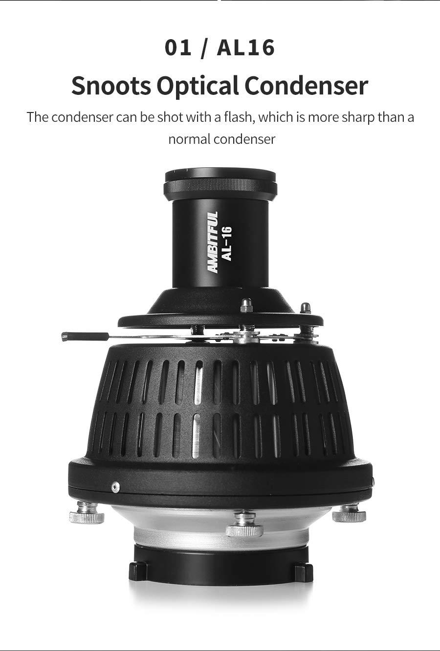 AMBITFUL AL-16 Bowens Mount Optical Focalize Condenser Beam Light Cylinder Optical Focalize Art Photography Light Cylinder with Adjust Aperture Ring