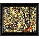 Number 8, (detail) 24x20 Black Ornate Wood Framed Canvas Art by Pollock, Jackson