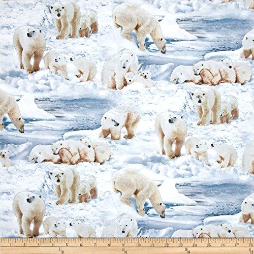 Elizabeth's Studio Polar Bears Ice Fabric by The Yard, Ice