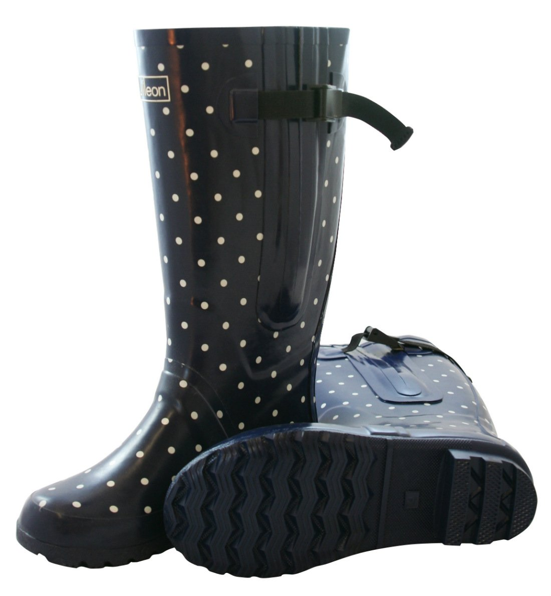 Jileon Extra Wide Calf Rubber Rain Boots for Women-Widest Fit Boots in The US-up to 21 inch Calves-Wide in The Foot and Ankle B012D69IHY 8 E (Extra Wide) US Navy With White Polka Dots