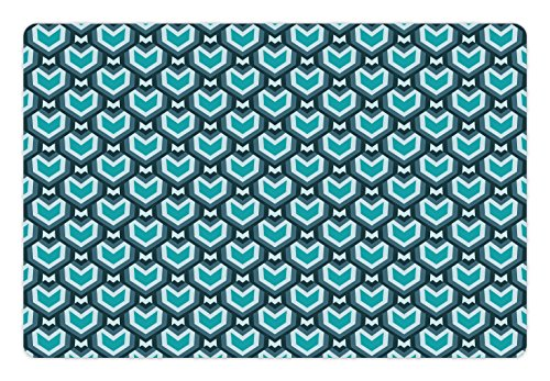 Waterfall Falls Slate (Ambesonne Teal Pet Mat for Food and Water, Abstract Waterfall Design Shades of Blue Geometric Art Modern Pattern, Rectangle Non-Slip Rubber Mat for Dogs and Cats, Slate Blue Pale Blue Teal)