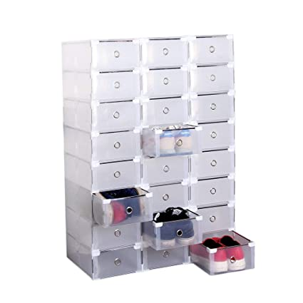 12/24 cajas para zapatos, apilables, transparentes, de plástico resistente para zapatos